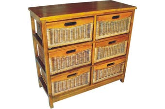 VI Brazil Solid Mango Wood Frame 6 Drawers Tall Cabinet American Heritage Finish