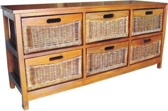 VI Brazil Solid Mango Wood Frame 6 Drawers Wide Cabinet American Heritage Finish