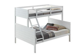 VI Winston Rubber Wood MDF & LVL Poplar Single over Double Bunk Bed White Finish