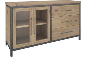 VI Pauls Solid Acacia Timber and Steel Frame Sideboard 2 Doors 3 Drawers Wire Brush Finish