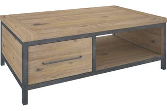 VI Pauls Solid Acacia Timber and Steel Frame Coffee Table 2 Drawers Wire Brush Finish