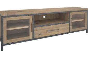 VI Pauls Solid Acacia Timber and Steel Frame TV Unit 2 Doors 1 Drawer 1 Niche Wire Brush Finish