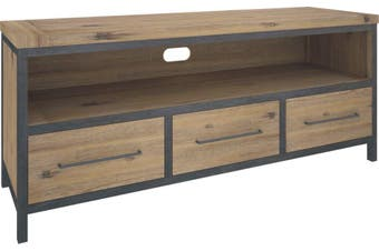 VI Pauls Solid Acacia Timber and Steel Frame TV Unit 3 Drawers 1 Niche Wire Brush Finish
