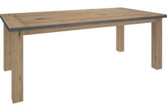 VI Pauls Solid Acacia Timber and Steel Frame 240cm Dining Table Wire Brush Finish