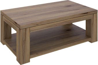 VI Ashfield Solid Acacia Timber Coffee Table with Shelf Rustic Finish