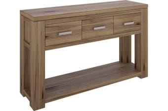 VI Ashfield Solid Acacia Timber Hall Table 3 Drawers & Shelf Rustic Finish