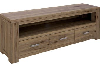 VI Ashfield Solid Acacia Timber TV Unit 3 Drawers and 1 Niche Rustic Finish