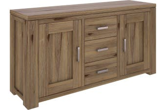 VI Ashfield Solid Acacia Timber Sideboard 3 Drawers and 2 Doors Rustic Finish