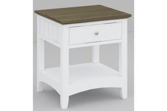 VI Briton Brushed Acacia & MDF Painted Bedside 1 Drawer Dark Wenge & White Finish