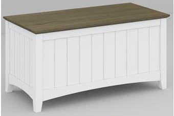 VI Briton Brushed Acacia & MDF Painted Blanket Box Dark Wenge & White Finish