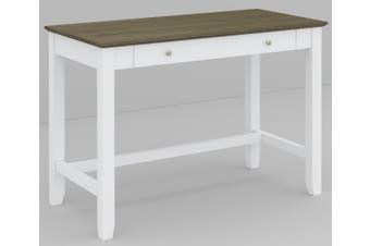 VI Briton Brushed Acacia & MDF Painted Study Desk 1 Drawer Dark Wenge & White Finish