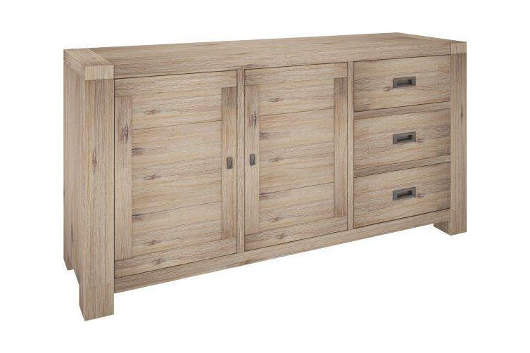 VI Batemans Bay Acacia Solid & Veneer Sideboard 3 Drawers 2 Doors Seat Ash Finish