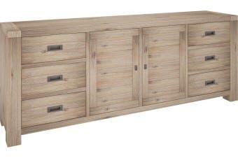 VI Batemans Bay Acacia Solid & Veneer Sideboard 6 Drawers 2 Doors Seat Ash Finish