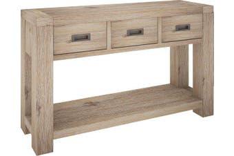VI Batemans Bay Acacia Solid & Veneer Console Table 3 Drawers Ash Finish