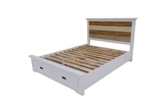 VI Denver Acacia Timber Queen Bed with Storage Multi Colour Finish