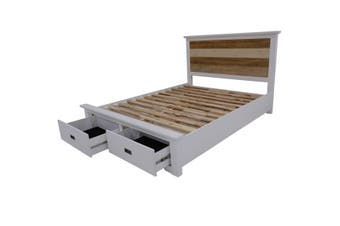 VI Denver Acacia Timber King Bed with Storage Multi Colour Finish