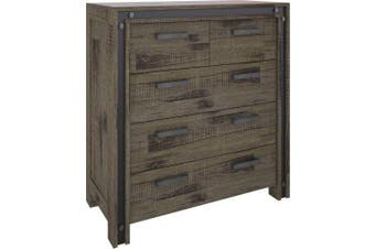 VI Industrial Solid Acacia Tall Boy 2 Over 3 Drawers Brushed Rough Sawn Finish