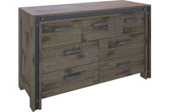 VI Industrial Solid Acacia Dresser 3 Over 4 Drawers Brushed Rough Sawn Finish