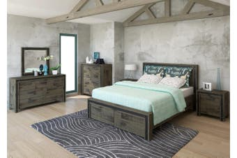 VI Industrial Solid Acacia King Bedroom Suite Brushed Rough Sawn Finish