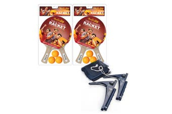 Table Tennis Accessories Pack Package Deal,2 Pair of Double Star Table Tennis Bats Ping Pong Rackets Paddles,Double Star Net and Post