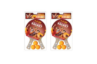 2 Pair of Double Star Table Tennis Bats and Balls Set Ping Pong Rackets for Training