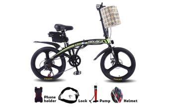 "IRUKA 350W 36V Folding Electric Bike 20"" eBike w/ Removable Battery Green!"