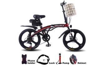 "IRUKA 350W 36V Folding Electric Bike 20"" eBike w/ Removable Battery Red!"