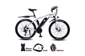 "AKEZ 350W 36V Mountain Motorized Bicycle Road Electric Bike eBike Alloy Frame 26"" White"