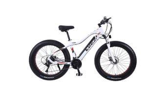 "AKEZ Cruiser Snow Bicycle Electric Bike eBike 26"" w/ Removable Battery White"