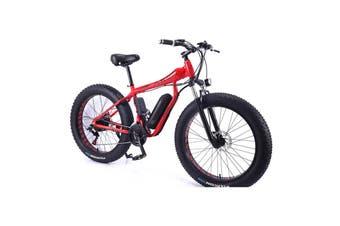 "AKEZ HT 350W 36V Electric Bike Beach eBike Snow Motorized Bicycle Battery 26"" Red"