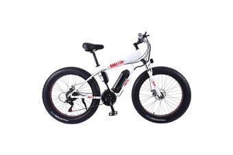 "AKEZ HT 350W 36V Electric Bike Beach eBike Snow Motorized Bicycle Battery 26"" White"