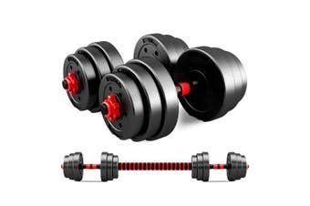 JMQ Adjustable Rubber Dumbbell Set Barbell Home GYM Exercise Weights Fitness 20kg