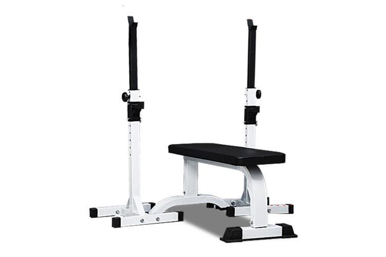 JMQ Fitness RBT305 Adjustable Squat Rack Stand & Weight Bench Press Set