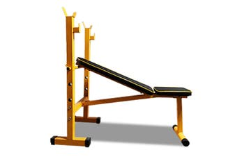JMQ Fitness RBT310A Heavy Duty Weight Bench Flat Incline with Squat Rack