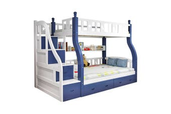 Mason Taylor Bunk Bed Frame with Mattresses 6 Drawers Space Saving White Blue 245*120