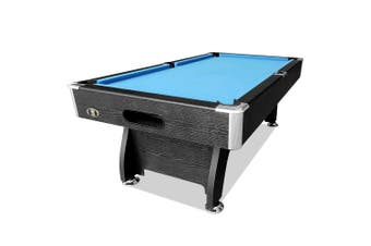 7FT MDF Pool Snooker Billiard Table with Accessories Pack, Black Frame with Blue Felt