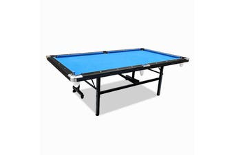 8FT Foldable Pool Table Blue Felt Billiard Table Free Accessory for Small Room
