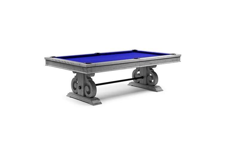 8FT LUXURY SLATE POOL / BILLIARDS / SNOOKER TABLE W/ DINING TOP SILVER MIST