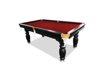 8FT Luxury Slate Pool Table Solid Timber Billiard Table Professional Snooker Table w/ Accessories Pack,Black Frame / Burgundy Felt