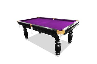 8FT Luxury Slate Pool Table Solid Timber Billiard Table Professional Snooker Game Table with Accessories Pack,Black Frame / Purple Felt