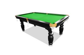 8FT Luxury Slate Pool Table Solid Timber Billiard Table Professional Snooker Game Table with Accessories Pack,Black Frame / Green Felt