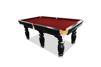 9FT Luxury Slate Pool Table Solid Timber Billiard Table Professional Snooker Table w/ Accessories Pack,Black Frame / Burgundy Felt