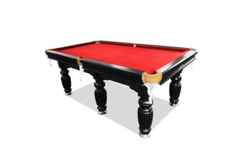 9FT Luxury Slate Pool Table Solid Timber Billiard Table Professional Snooker Game Table with Accessories Pack,Black Frame / Red Felt