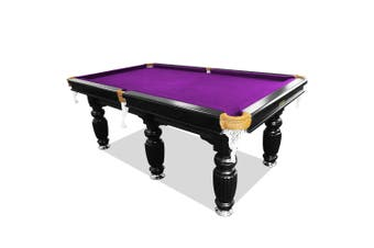 10FT Luxury Slate Pool Table Solid Timber Billiard Table Professional Snooker Game Table with Accessories Pack,Black Frame / Purple Felt