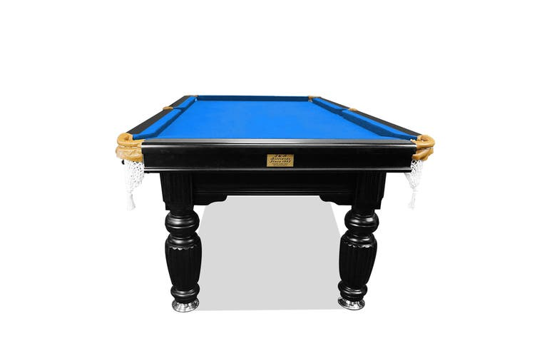 10FT Luxury Slate Pool Table Solid Timber Billiard Table Professional Snooker Game Table with Accessories Pack,Black Frame / Blue Felt