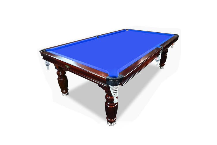 8FT Luxury Slate Pool Table Solid Timber Billiard Table Professional Snooker Game Table with Accessories Pack,Walnut Frame / Blue Felt