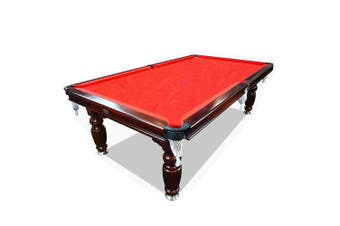 8FT Luxury Slate Pool Table Solid Timber Billiard Table Professional Snooker Game Table with Accessories Pack,Walnut Frame / Red Felt