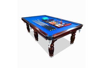 9FT Walnut Blue Felt Luxury Slate Pool Billiard Snooker Table Free Accessory