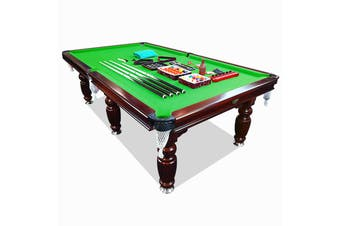 9FT Walnut Green Felt Luxury Slate Pool Billiard Snooker Table Free Accessory