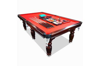9FT Walnut Red Felt Luxury Slate Pool Billiard Snooker Table Free Accessory